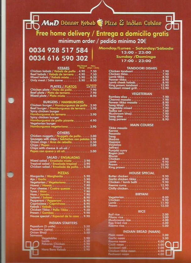 kebab menu takeaway lanzarote restaurant -Kebabs Delivered to your Door in Playa Blanca Canarias - Most Recommended Places for Kebabs in Playa Blanca Lanzarote